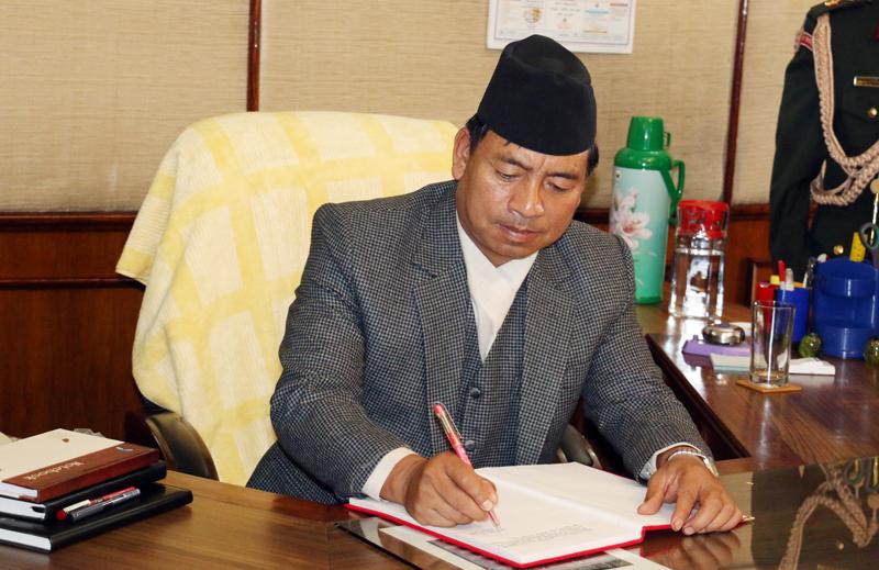 Vice-President Nanda Bahadur Pun assumes his office after being sworn-in by President Bidya Devi Bhandari, in Kathmandu, on Sunday, November 1, 2015. Photo: RSS