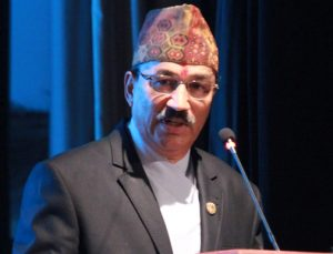 Deputy Prime Minister and Minister for Foreign Affairs Kamal Thapa addresses 7th International General Assembly and the Global Conference of the Non-Resident Nepali Association (NRNA), in Kathmandu, on Friday, October 16, 2015. Photo: RSS