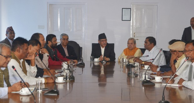 Prime Minister Pupakamal Dahal and other leader from alliance party sits in meeting with Madhesi leader at Singh Durbar on Friday, August 05, 2016.