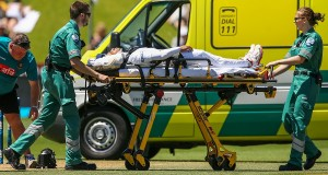 WELLINGTON, NEW ZEALAND - JANUARY 16:  Mushfiqur Rahim of Bangladesh is stretchered into an ambulance after being struck in the helmet by a delivery from Tim Southee of New Zealand during day five of the First Test match between New Zealand and Bangladesh at Basin Reserve on January 16, 2017 in Wellington, New Zealand.  (Photo by Hagen Hopkins/Getty Images)